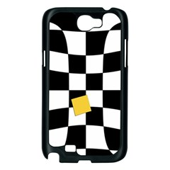 Dropout Yellow Black And White Distorted Check Samsung Galaxy Note 2 Case (Black)