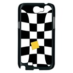 Dropout Yellow Black And White Distorted Check Samsung Galaxy Note 2 Case (Black) Front