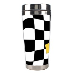 Dropout Yellow Black And White Distorted Check Stainless Steel Travel Tumblers