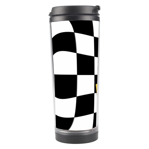 Dropout Yellow Black And White Distorted Check Travel Tumbler