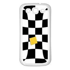 Dropout Yellow Black And White Distorted Check Samsung Galaxy S3 Back Case (white)