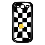 Dropout Yellow Black And White Distorted Check Samsung Galaxy S3 Back Case (Black) Front
