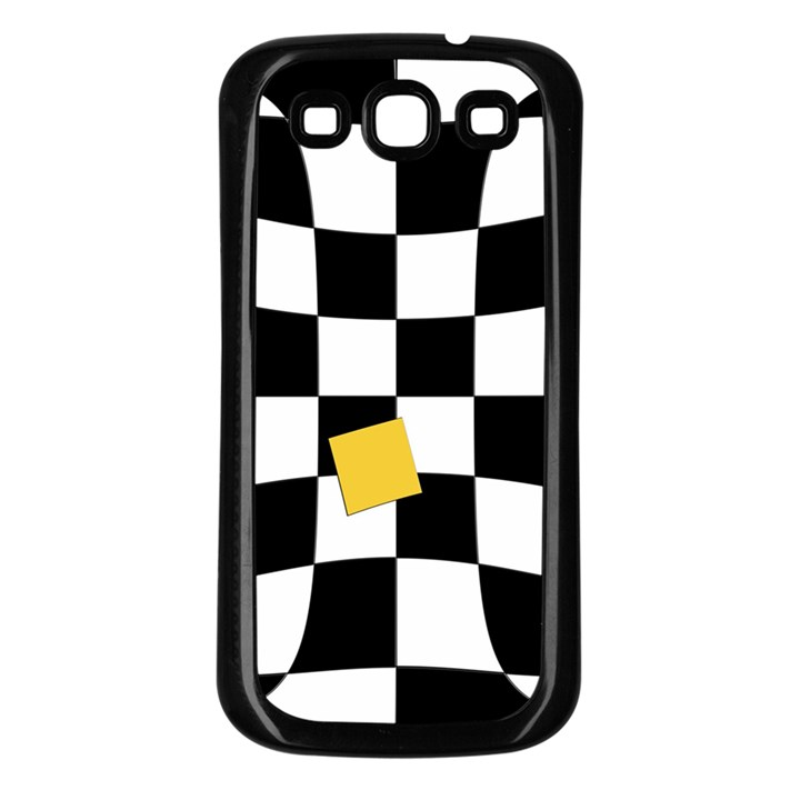 Dropout Yellow Black And White Distorted Check Samsung Galaxy S3 Back Case (Black)