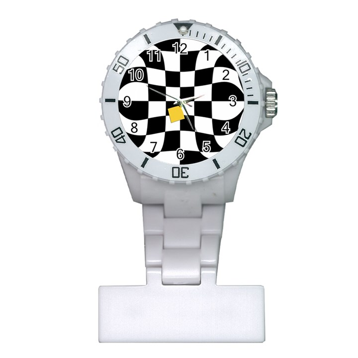 Dropout Yellow Black And White Distorted Check Plastic Nurses Watch
