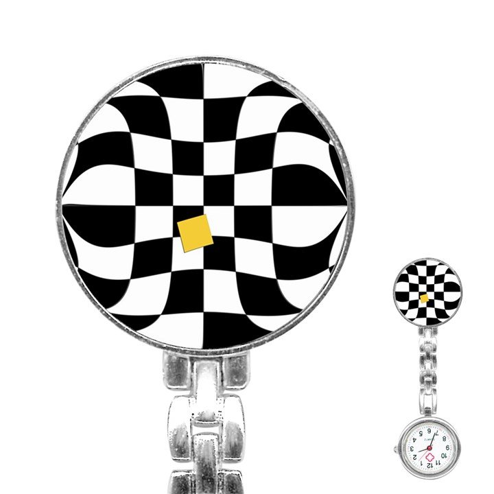 Dropout Yellow Black And White Distorted Check Stainless Steel Nurses Watch