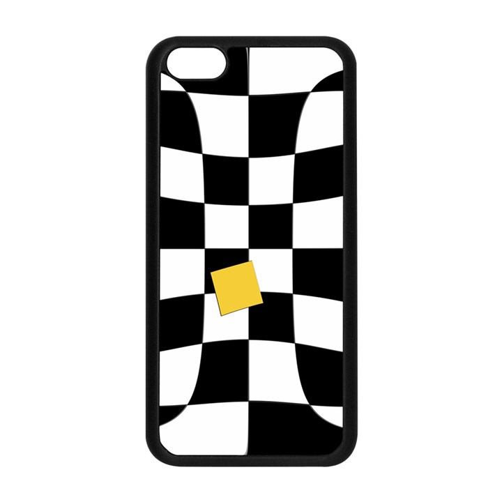 Dropout Yellow Black And White Distorted Check Apple iPhone 5C Seamless Case (Black)