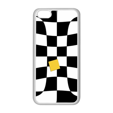 Dropout Yellow Black And White Distorted Check Apple iPhone 5C Seamless Case (White)