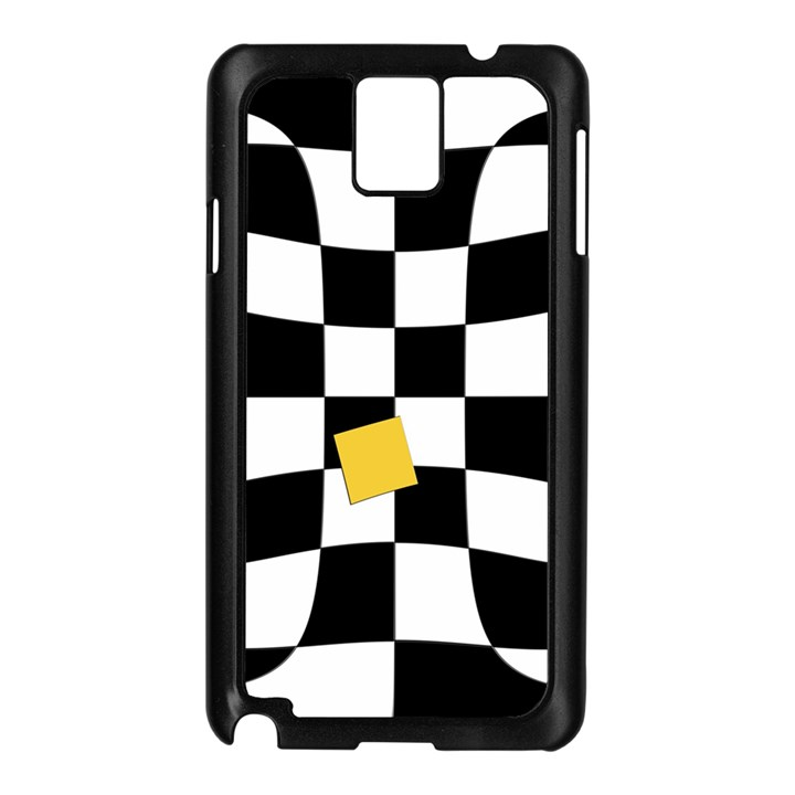 Dropout Yellow Black And White Distorted Check Samsung Galaxy Note 3 N9005 Case (Black)