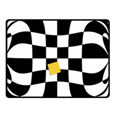 Dropout Yellow Black And White Distorted Check Double Sided Fleece Blanket (small)