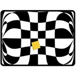 Dropout Yellow Black And White Distorted Check Double Sided Fleece Blanket (Large)  80 x60 Blanket Back