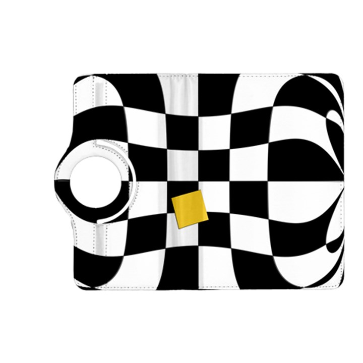 Dropout Yellow Black And White Distorted Check Kindle Fire HD (2013) Flip 360 Case