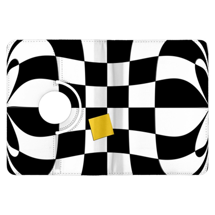 Dropout Yellow Black And White Distorted Check Kindle Fire HDX Flip 360 Case