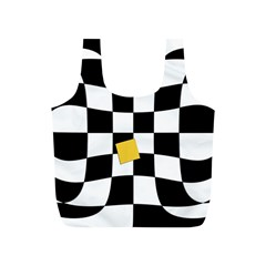 Dropout Yellow Black And White Distorted Check Full Print Recycle Bags (S)