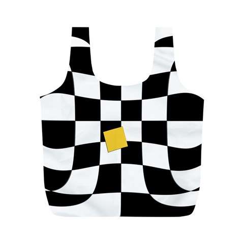 Dropout Yellow Black And White Distorted Check Full Print Recycle Bags (M)