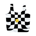 Dropout Yellow Black And White Distorted Check Full Print Recycle Bags (M)  Front
