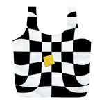 Dropout Yellow Black And White Distorted Check Full Print Recycle Bags (L)  Front