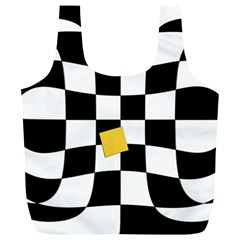 Dropout Yellow Black And White Distorted Check Full Print Recycle Bags (L)