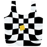 Dropout Yellow Black And White Distorted Check Full Print Recycle Bags (L)  Back