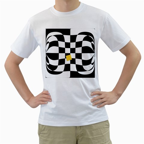 Dropout Yellow Black And White Distorted Check Men s T-Shirt (White)