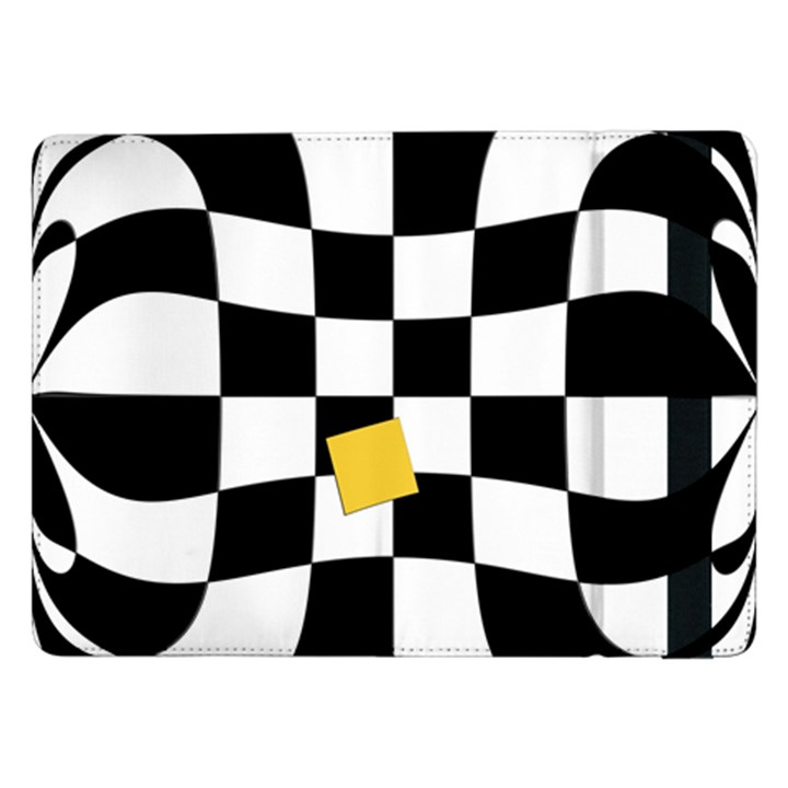 Dropout Yellow Black And White Distorted Check Samsung Galaxy Tab Pro 12.2  Flip Case