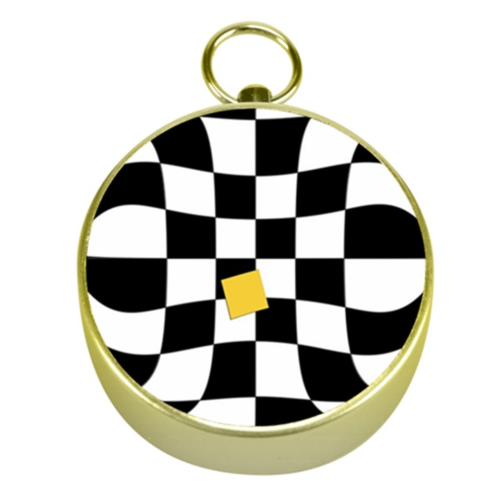 Dropout Yellow Black And White Distorted Check Gold Compasses