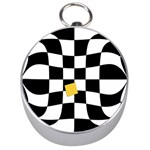 Dropout Yellow Black And White Distorted Check Silver Compasses Front