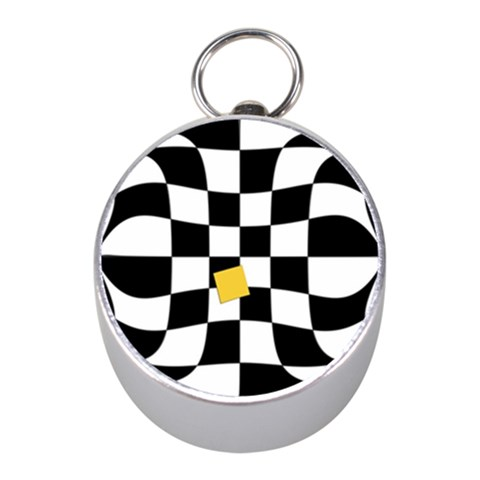 Dropout Yellow Black And White Distorted Check Mini Silver Compasses