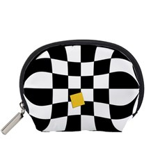 Dropout Yellow Black And White Distorted Check Accessory Pouches (small)