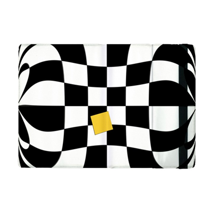 Dropout Yellow Black And White Distorted Check iPad Mini 2 Flip Cases