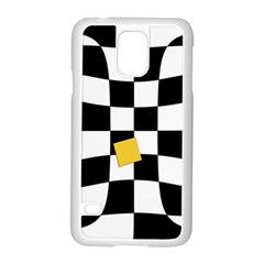 Dropout Yellow Black And White Distorted Check Samsung Galaxy S5 Case (White)
