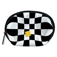Dropout Yellow Black And White Distorted Check Accessory Pouches (medium)