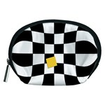 Dropout Yellow Black And White Distorted Check Accessory Pouches (Medium)  Front