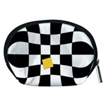 Dropout Yellow Black And White Distorted Check Accessory Pouches (Medium)  Back