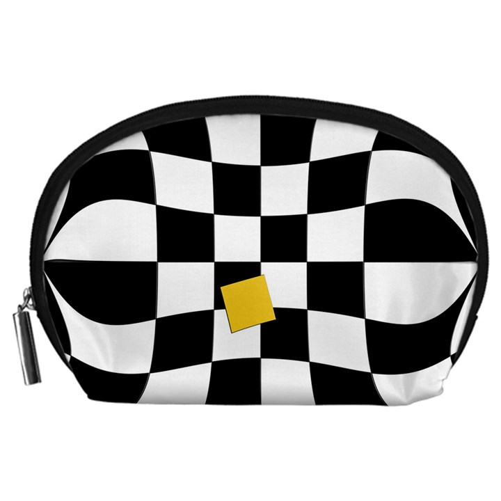 Dropout Yellow Black And White Distorted Check Accessory Pouches (Large)