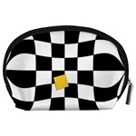 Dropout Yellow Black And White Distorted Check Accessory Pouches (Large)  Back