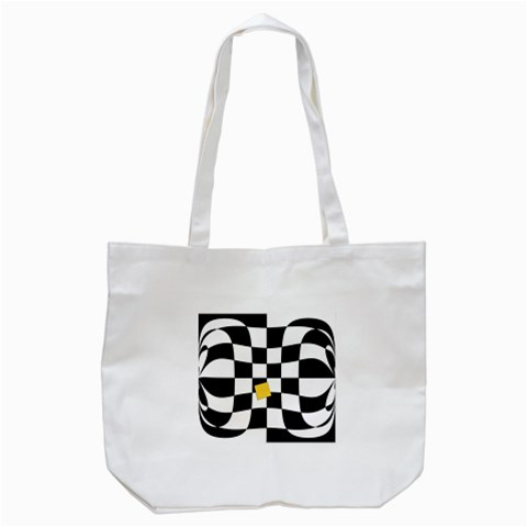 Dropout Yellow Black And White Distorted Check Tote Bag (White)