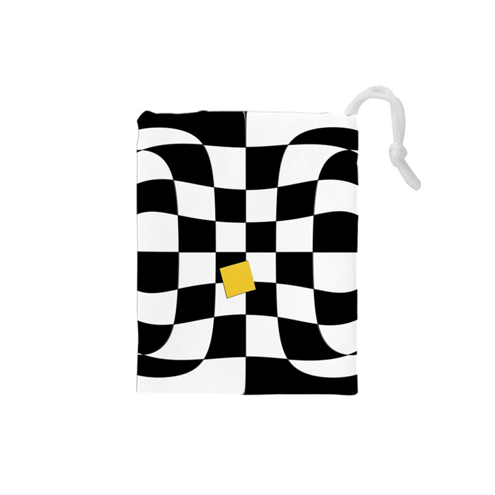 Dropout Yellow Black And White Distorted Check Drawstring Pouches (Small)