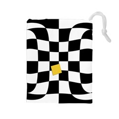 Dropout Yellow Black And White Distorted Check Drawstring Pouches (Large)