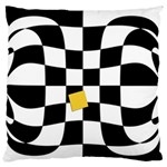 Dropout Yellow Black And White Distorted Check Large Flano Cushion Case (One Side) Front