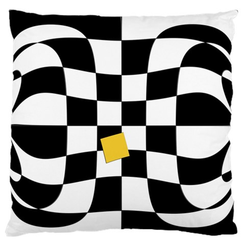 Dropout Yellow Black And White Distorted Check Large Flano Cushion Case (Two Sides)