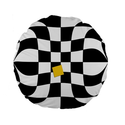 Dropout Yellow Black And White Distorted Check Standard 15  Premium Flano Round Cushions