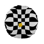 Dropout Yellow Black And White Distorted Check Standard 15  Premium Flano Round Cushions Back