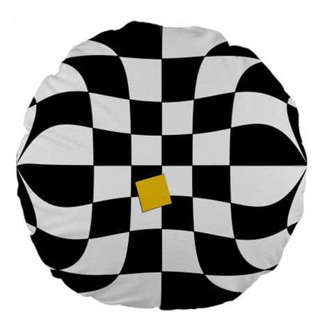 Dropout Yellow Black And White Distorted Check Large 18  Premium Flano Round Cushions