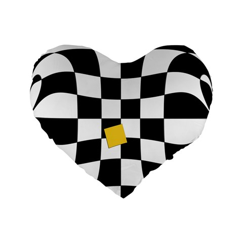 Dropout Yellow Black And White Distorted Check Standard 16  Premium Flano Heart Shape Cushions