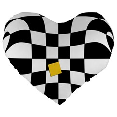 Dropout Yellow Black And White Distorted Check Large 19  Premium Flano Heart Shape Cushions