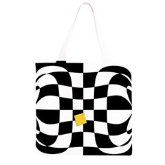 Dropout Yellow Black And White Distorted Check Grocery Light Tote Bag