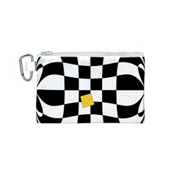 Dropout Yellow Black And White Distorted Check Canvas Cosmetic Bag (S)
