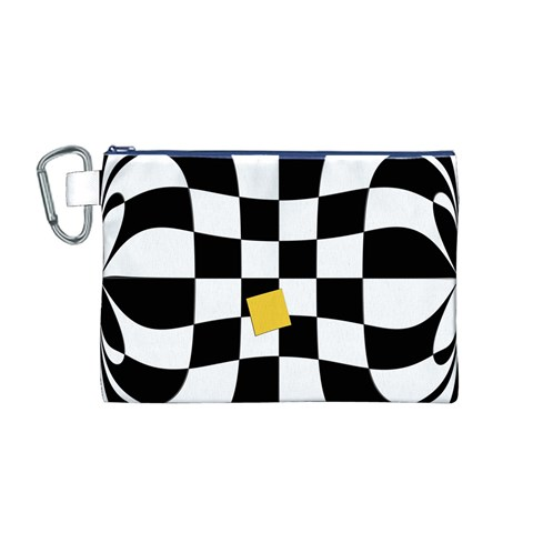 Dropout Yellow Black And White Distorted Check Canvas Cosmetic Bag (M)