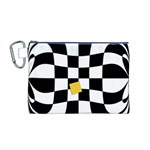 Dropout Yellow Black And White Distorted Check Canvas Cosmetic Bag (M) Front