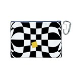 Dropout Yellow Black And White Distorted Check Canvas Cosmetic Bag (M) Back